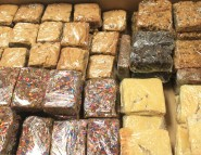Blonde Brownies, Peanut Butter and M&M Rice Krispie Bars, Flat Apple Pie, Dark Chocolate Caramel Bars and Toffee Bars